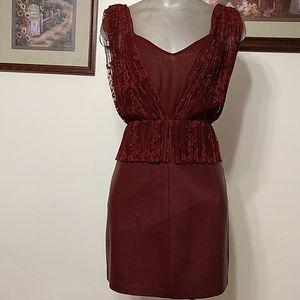 Zara TRAFALUC Faux Leather/Lace Overlay Mini Dress